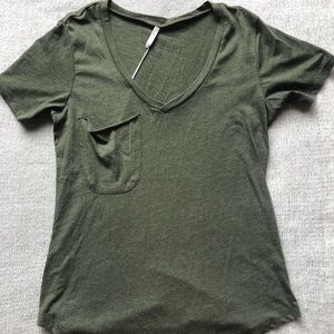 Z Supply Army Green V-Neck Shirt